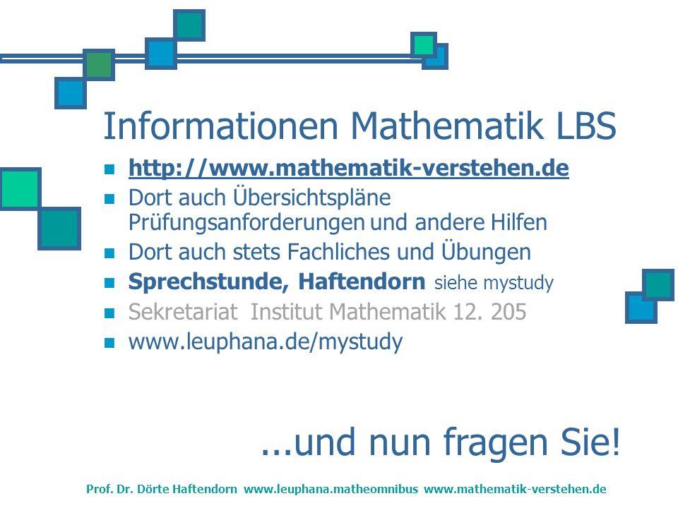 Informationen Mathematik LBS http://www.mathematik-verstehen.de Dort auch Übersichtspläne Prüfungsanforderungen und andere Hilfen Dort auch stets Fachliches und Übungen Sprechstunde, Haftendorn siehe mystudy Sekretariat Institut Mathematik 12.