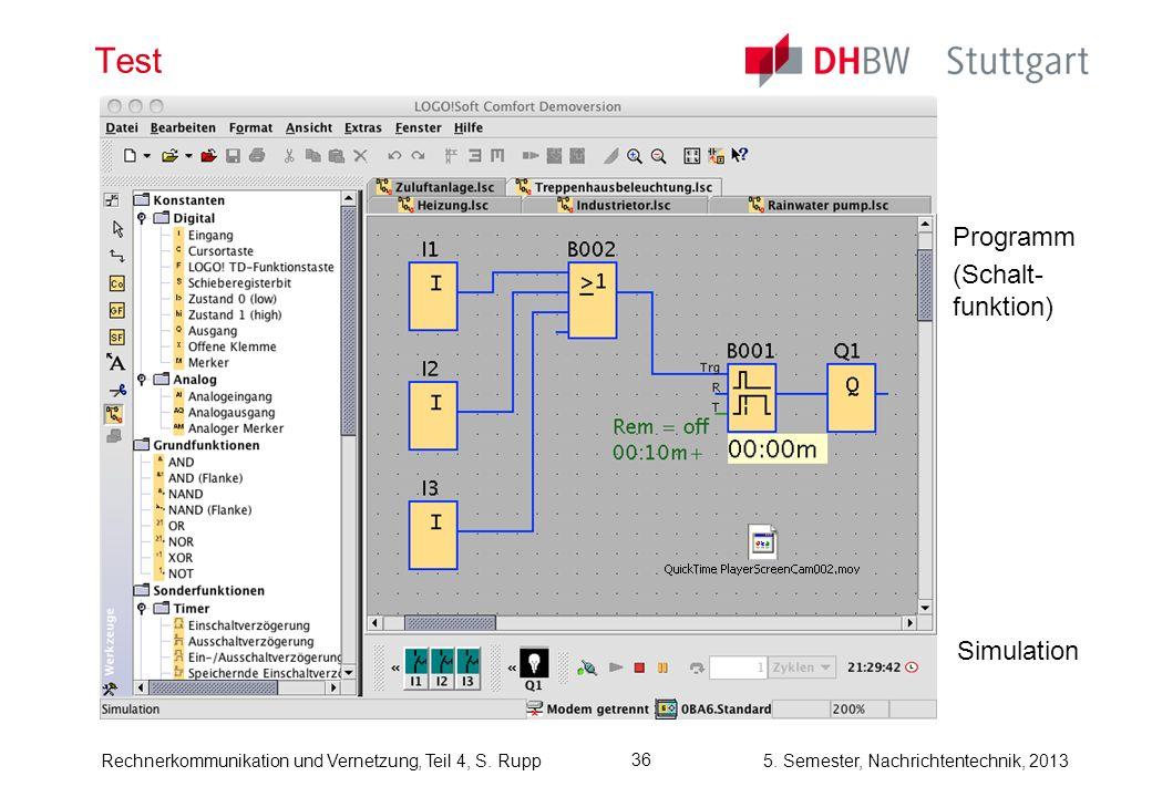 5. Semester, Nachrichtentechnik, 2013Rechnerkommunikation und Vernetzung, Teil 4, S. Rupp 36 Test Simulation Programm (Schalt- funktion)