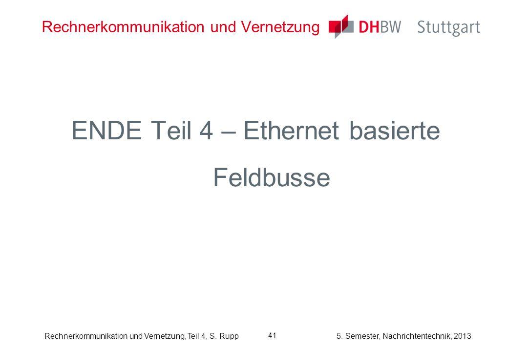 5. Semester, Nachrichtentechnik, 2013Rechnerkommunikation und Vernetzung, Teil 4, S. Rupp Rechnerkommunikation und Vernetzung ENDE Teil 4 – Ethernet b