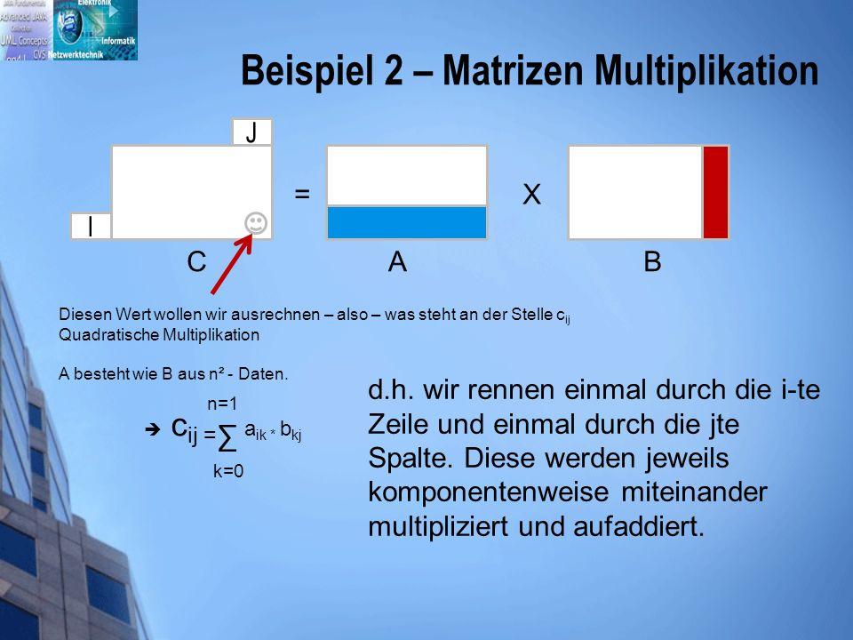 Beispiel 2 – Matrizen Multiplikation J I = X A B C Diesen Wert wollen wir ausrechnen – also – was steht an der Stelle c ij Quadratische Multiplikation