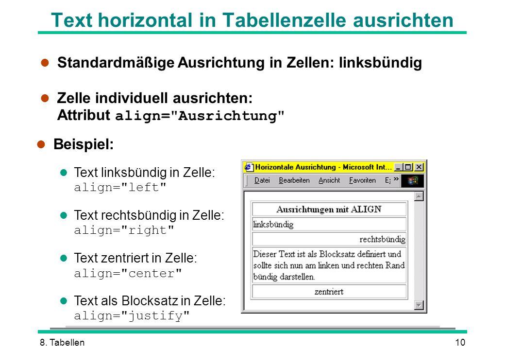8. Tabellen10 Text horizontal in Tabellenzelle ausrichten l Standardmäßige Ausrichtung in Zellen: linksbündig Zelle individuell ausrichten: Attribut a