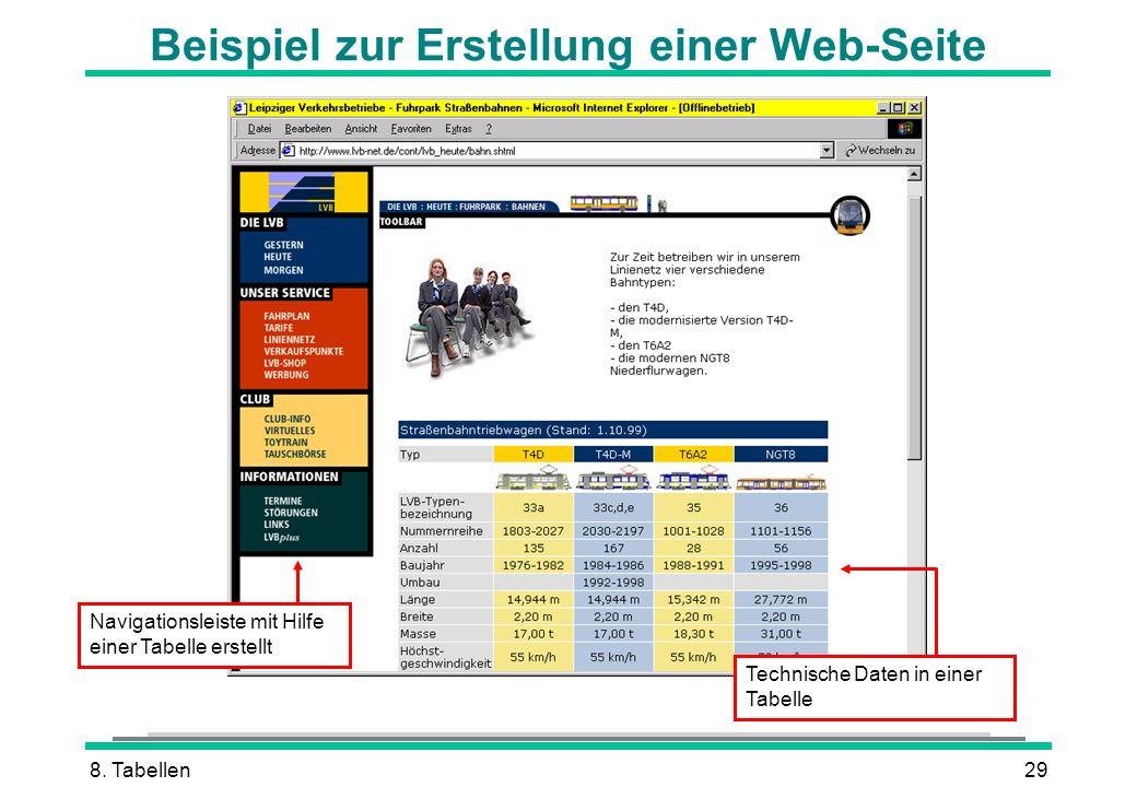 8. Tabellen29 Beispiel zur Erstellung einer Web-Seite Navigationsleiste mit Hilfe einer Tabelle erstellt Technische Daten in einer Tabelle