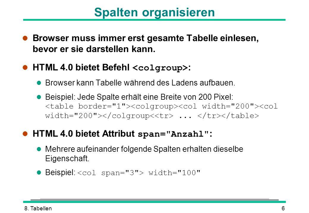 8. Tabellen6 l Browser muss immer erst gesamte Tabelle einlesen, bevor er sie darstellen kann. HTML 4.0 bietet Befehl : l Browser kann Tabelle während