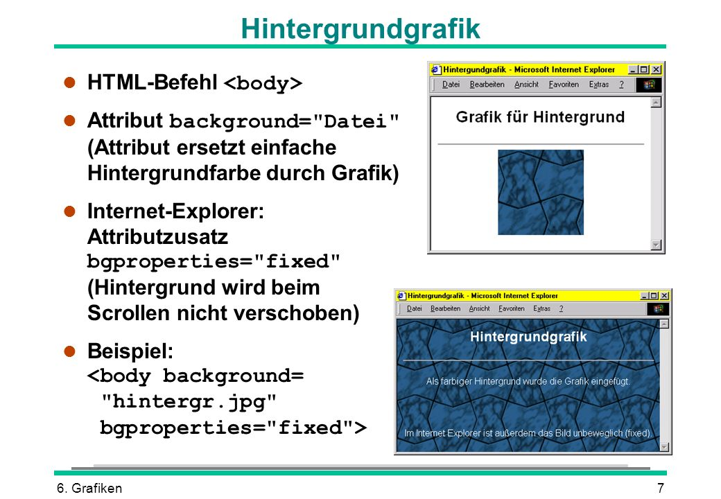 6. Grafiken7 HTML-Befehl Attribut background=