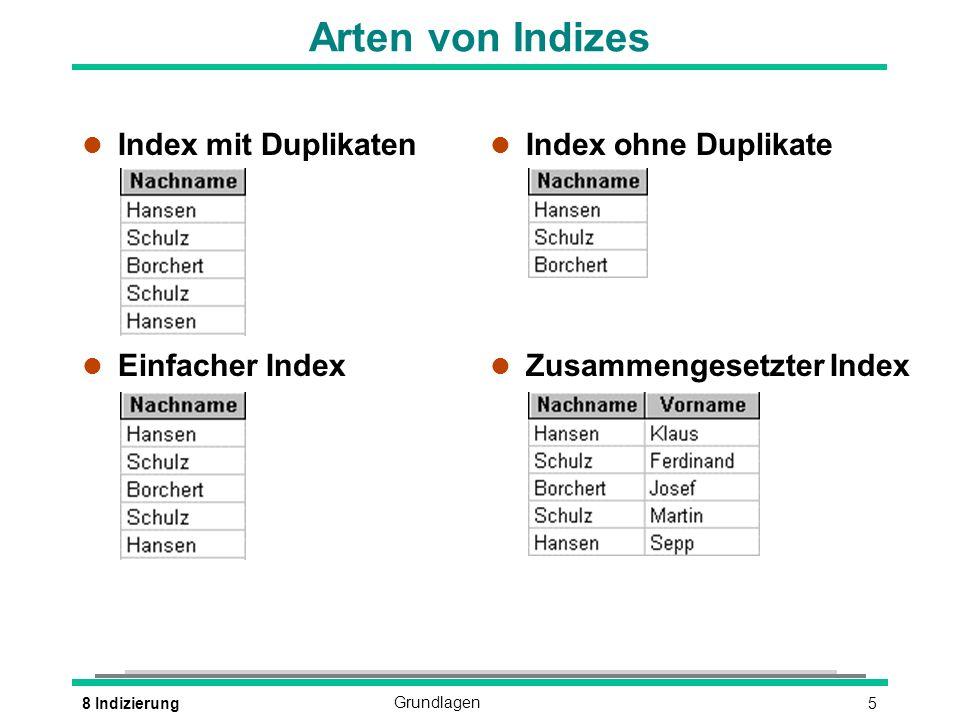 58 IndizierungGrundlagen Arten von Indizes l Index mit Duplikaten l Einfacher Index l Index ohne Duplikate l Zusammengesetzter Index