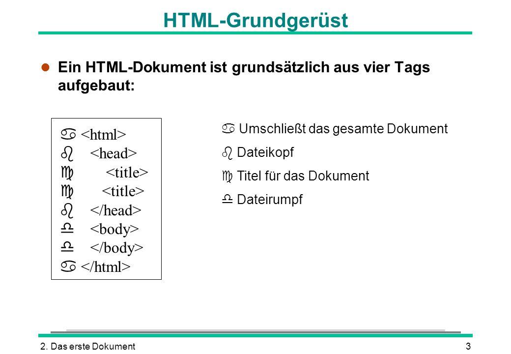2. Das erste Dokument3 HTML-Grundgerüst l Ein HTML-Dokument ist grundsätzlich aus vier Tags aufgebaut: Umschließt das gesamte Dokument Dateikopf Titel
