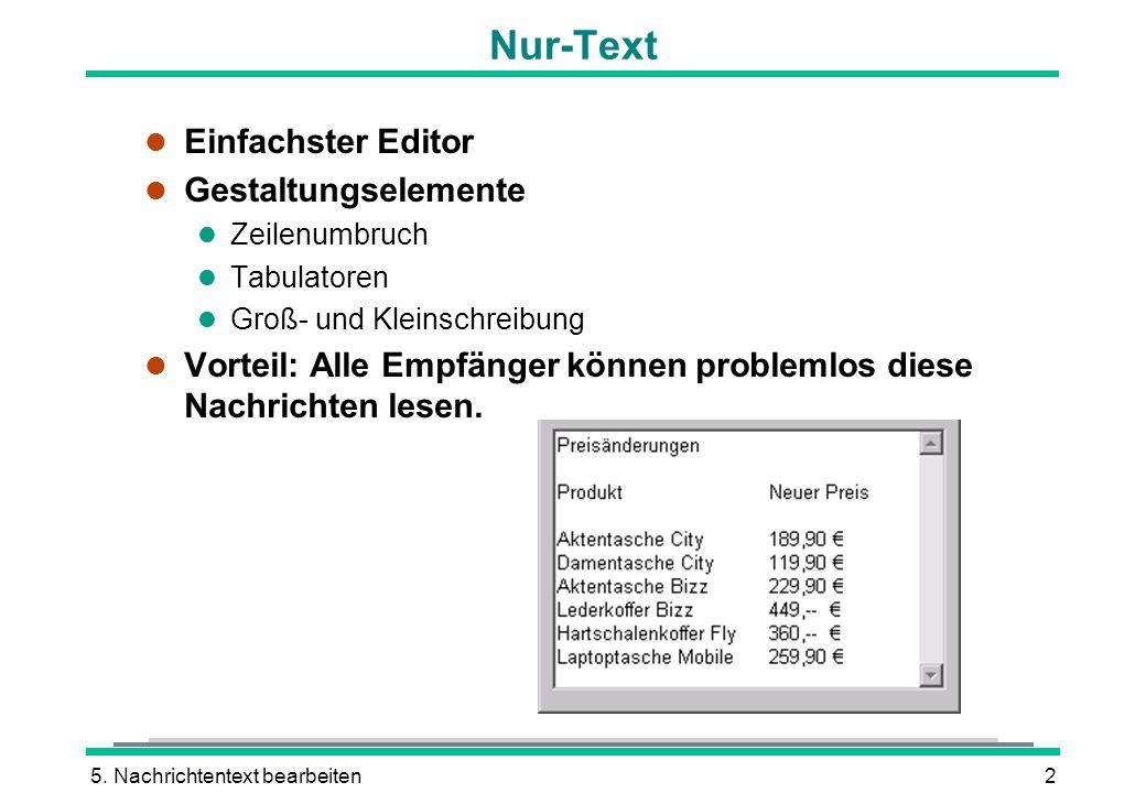 5. Nachrichtentext bearbeiten2 Nur-Text l Einfachster Editor l Gestaltungselemente l Zeilenumbruch l Tabulatoren l Groß- und Kleinschreibung l Vorteil