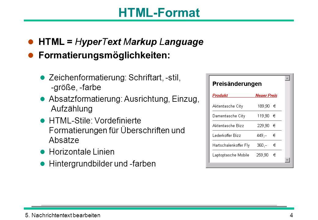 5. Nachrichtentext bearbeiten4 l HTML = HyperText Markup Language l Formatierungsmöglichkeiten: HTML-Format l Zeichenformatierung: Schriftart, -stil,