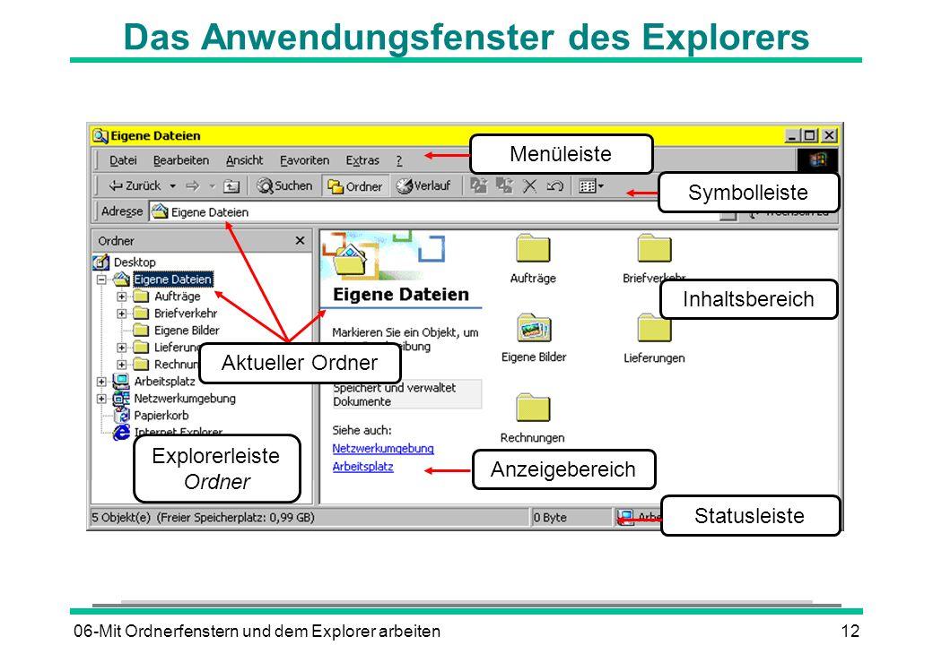 06-Mit Ordnerfenstern und dem Explorer arbeiten12 Das Anwendungsfenster des Explorers Explorerleiste Ordner Inhaltsbereich Statusleiste Aktueller Ordn
