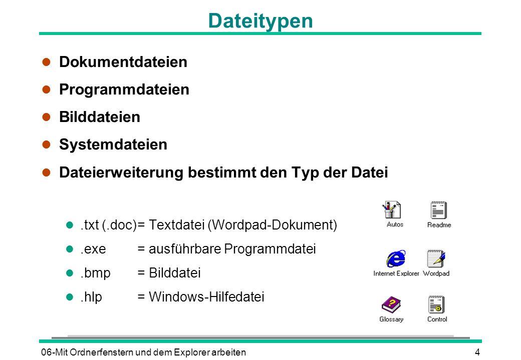 06-Mit Ordnerfenstern und dem Explorer arbeiten4 Dateitypen l Dokumentdateien l Programmdateien l Bilddateien l Systemdateien l Dateierweiterung besti