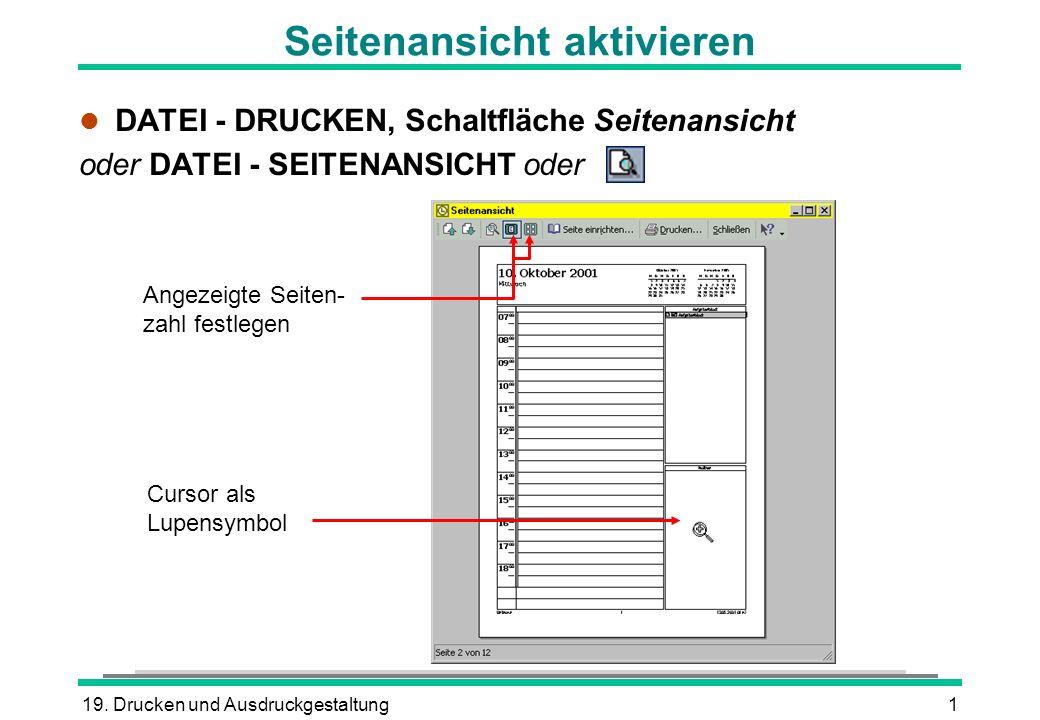 19. Drucken und Ausdruckgestaltung1 Seitenansicht aktivieren l DATEI - DRUCKEN, Schaltfläche Seitenansicht oder DATEI - SEITENANSICHT oder Angezeigte