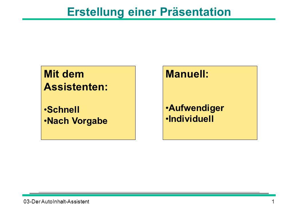 03-Der AutoInhalt-Assistent1 Manuell: Aufwendiger Individuell Mit dem Assistenten: Schnell Nach Vorgabe Erstellung einer Präsentation