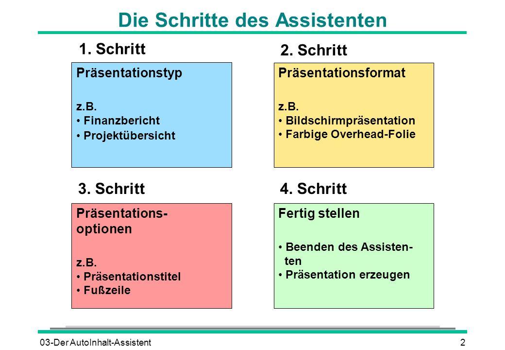 03-Der AutoInhalt-Assistent2 Die Schritte des Assistenten Präsentationstyp z.B. Finanzbericht Projektübersicht Präsentations- optionen z.B. Präsentati