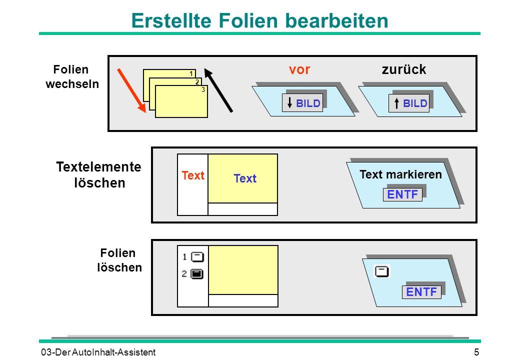 03-Der AutoInhalt-Assistent5 Textelemente löschen 1 2 3 zurück vor BILD Text Folien wechseln Folien löschen ENTF Erstellte Folien bearbeiten Text mark