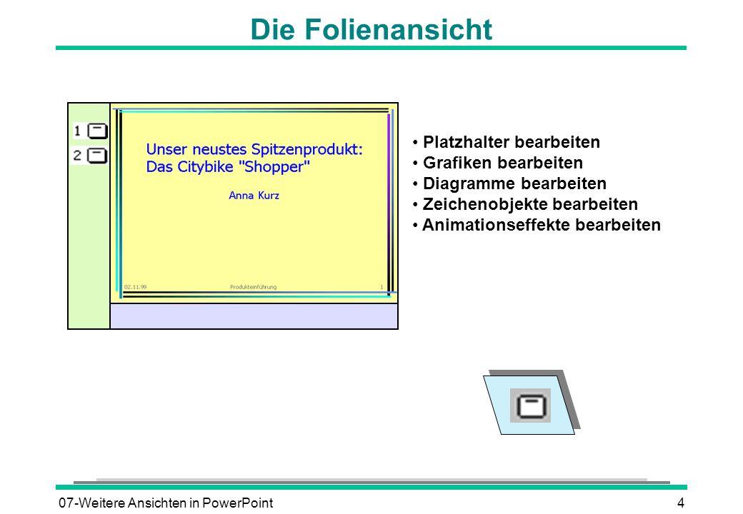 07-Weitere Ansichten in PowerPoint4 Die Folienansicht Platzhalter bearbeiten Grafiken bearbeiten Diagramme bearbeiten Zeichenobjekte bearbeiten Animat
