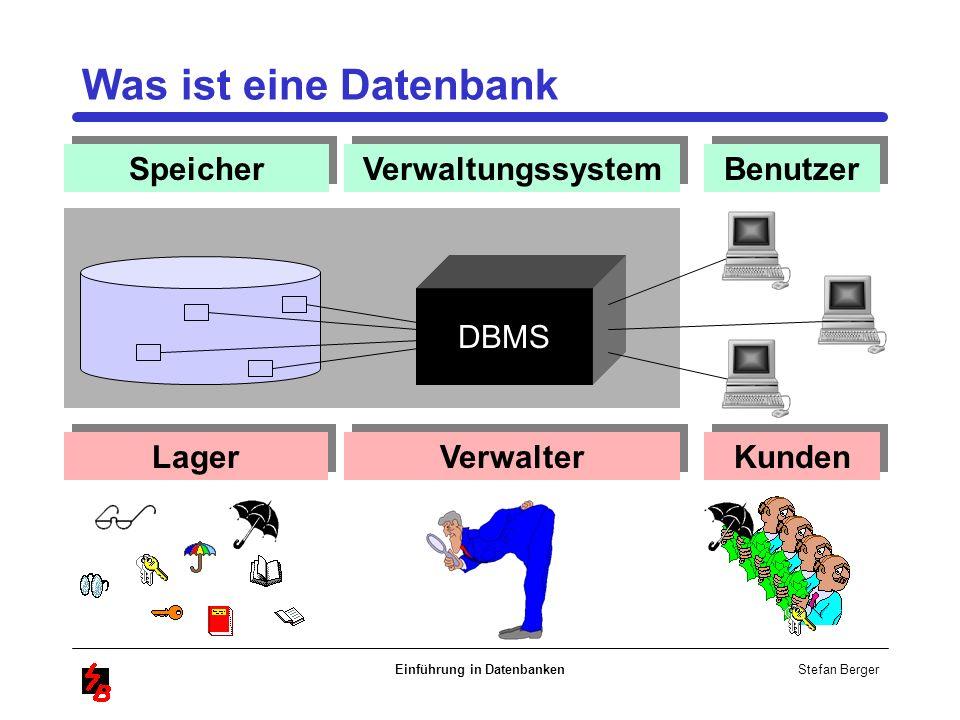 Stefan Berger Einführung in Datenbanken Lager Verwalter Speicher Verwaltungssystem Benutzer Kunden DBMS Was ist eine Datenbank