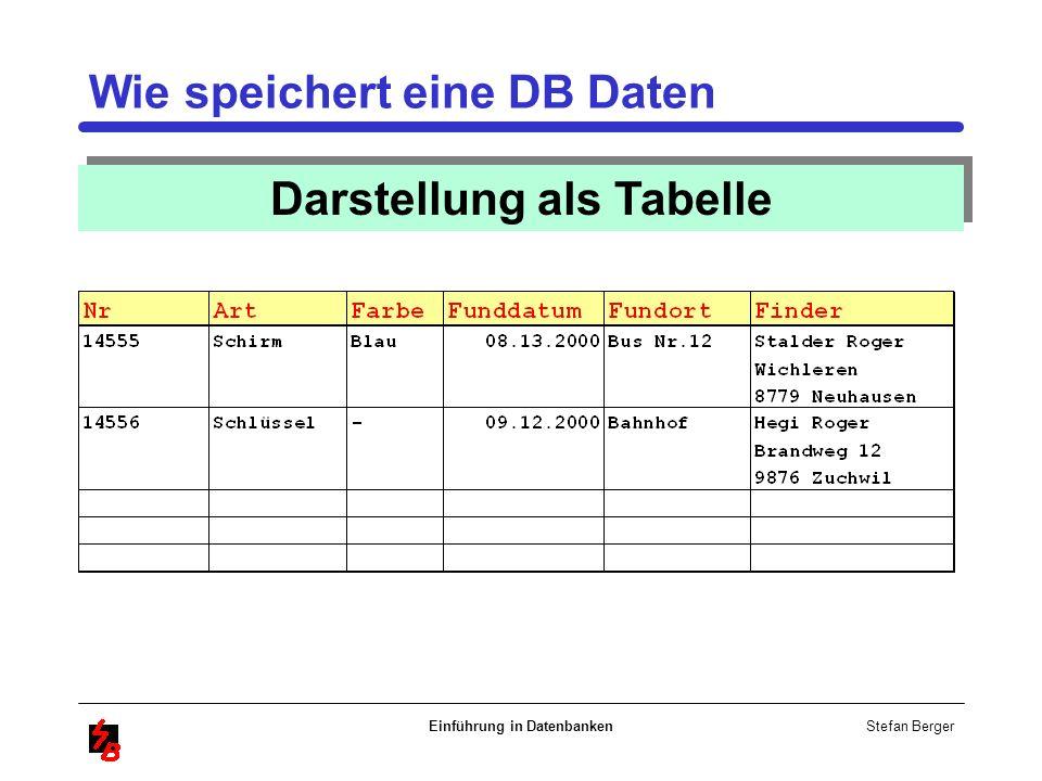 Stefan Berger Einführung in Datenbanken Wie speichert eine DB Daten Darstellung als Tabelle