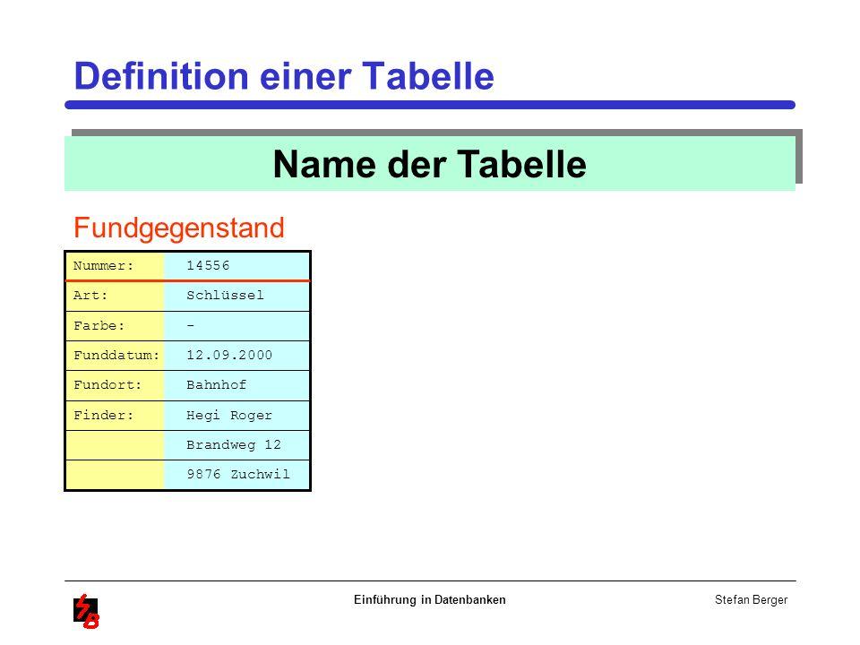 Stefan Berger Einführung in Datenbanken Definition einer Tabelle Name der Tabelle Fundgegenstand Brandweg 12 Nummer: 14556 Art: Schlüssel Farbe: - Fun