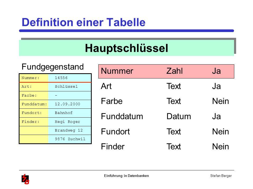 Stefan Berger Einführung in Datenbanken Definition einer Tabelle Hauptschlüssel Nummer Art Farbe Funddatum Fundort Finder Brandweg 12 Nummer: 14556 Ar