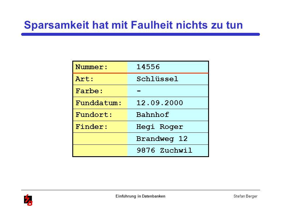 Stefan Berger Einführung in Datenbanken Sparsamkeit hat mit Faulheit nichts zu tun Brandweg 12 Nummer: 14556 Art: Schlüssel Farbe: - Funddatum: 12.09.