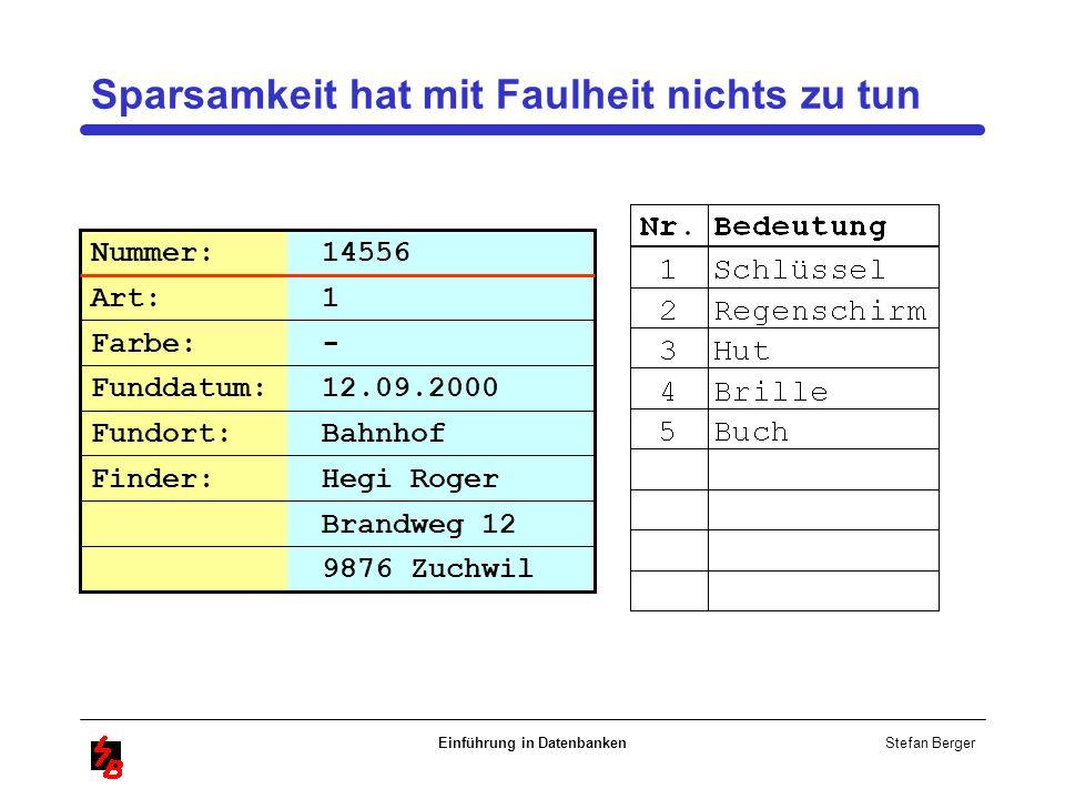 Stefan Berger Einführung in Datenbanken Sparsamkeit hat mit Faulheit nichts zu tun Brandweg 12 Nummer: 14556 Art: 1 Farbe: - Funddatum: 12.09.2000 Fun