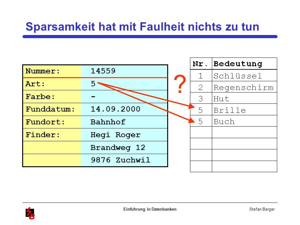 Stefan Berger Einführung in Datenbanken Sparsamkeit hat mit Faulheit nichts zu tun Brandweg 12 Nummer: 14559 Art: 5 Farbe: - Funddatum: 14.09.2000 Fun