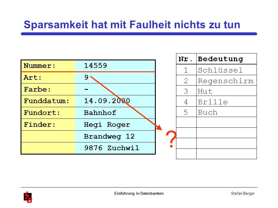 Stefan Berger Einführung in Datenbanken Sparsamkeit hat mit Faulheit nichts zu tun Brandweg 12 Nummer: 14559 Art: 9 Farbe: - Funddatum: 14.09.2000 Fun