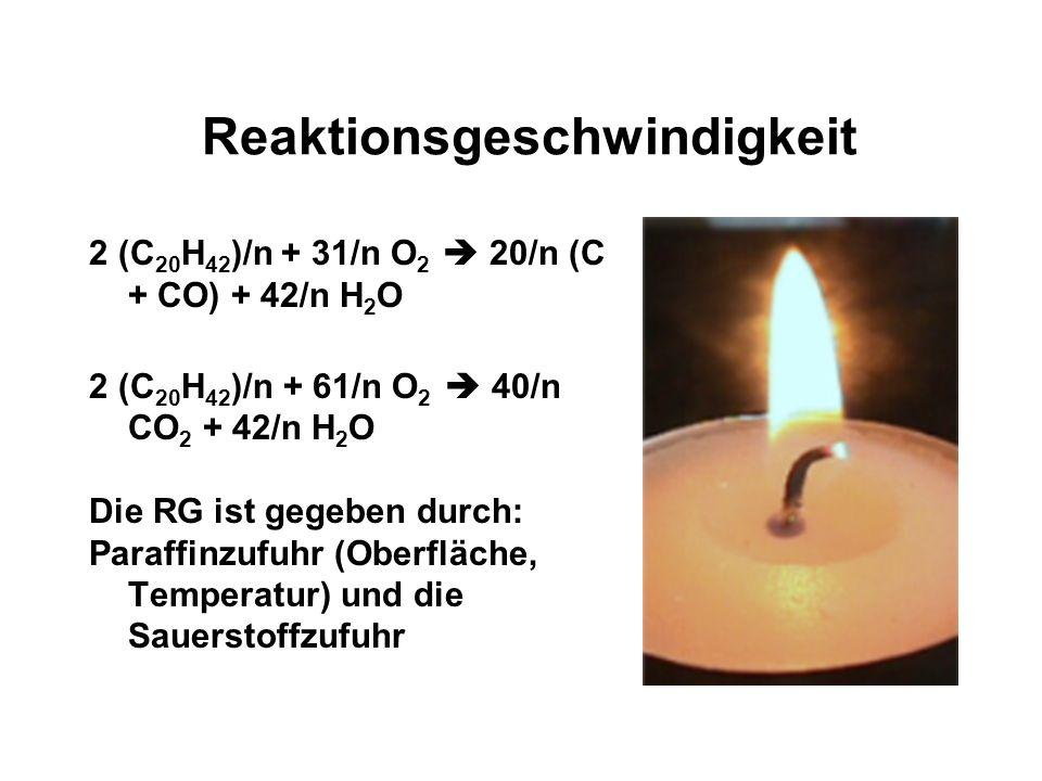 Thermodynamik 2 (C 20 H 42 )/n + 31/n O 2 20/n (C + CO) + 42/n H 2 O 2 (C 20 H 42 )/n + 61/n O 2 40/n CO 2 + 42/n H 2 O Die Reaktionen sind exotherm,
