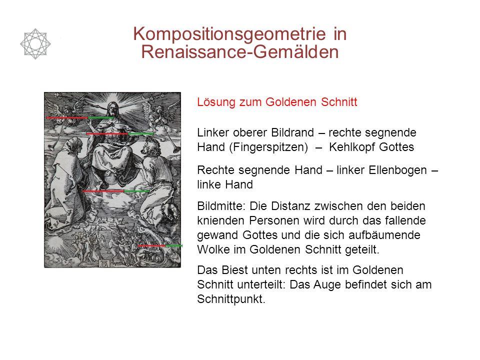Kompositionsgeometrie in Renaissance-Gemälden Lösung zum Goldenen Schnitt Linker oberer Bildrand – rechte segnende Hand (Fingerspitzen) – Kehlkopf Got
