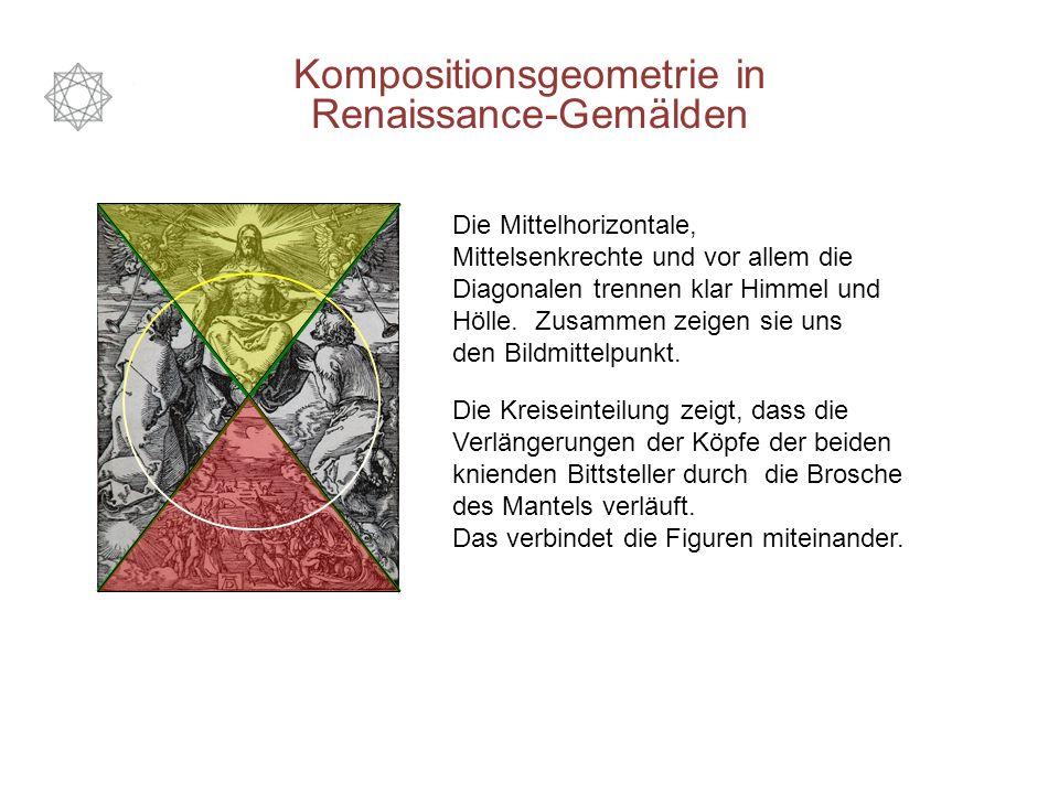 Kompositionsgeometrie in Renaissance-Gemälden Die Mittelhorizontale, Mittelsenkrechte und vor allem die Diagonalen trennen klar Himmel und Hölle. Zusa