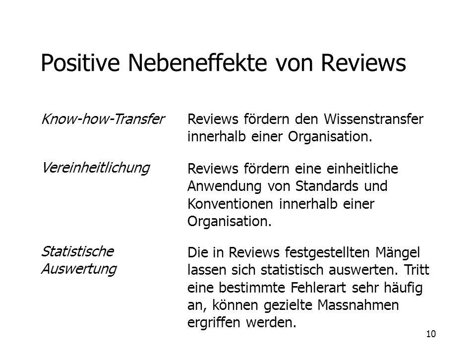 10 Positive Nebeneffekte von Reviews Know-how-Transfer Vereinheitlichung Statistische Auswertung Reviews fördern den Wissenstransfer innerhalb einer O