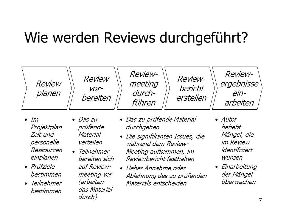 7 Wie werden Reviews durchgeführt? Review planen Review vor- bereiten Review- meeting durch- führen Review- bericht erstellen Review- ergebnisse ein-