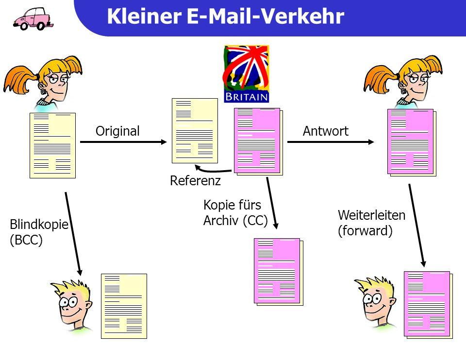 Kleiner E-Mail-Verkehr Original Blindkopie (BCC) Antwort Referenz Weiterleiten (forward) Kopie fürs Archiv (CC)