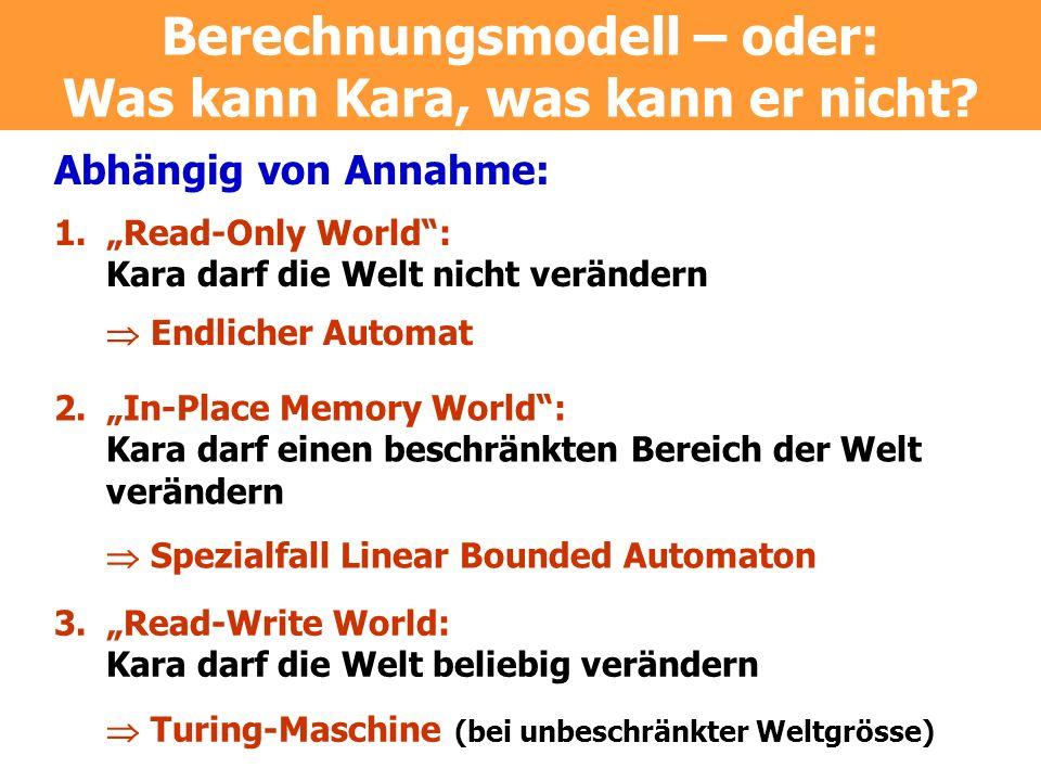 Abhängig von Annahme: 1.Read-Only World: Kara darf die Welt nicht verändern Endlicher Automat 2. In-Place Memory World: Kara darf einen beschränkten B