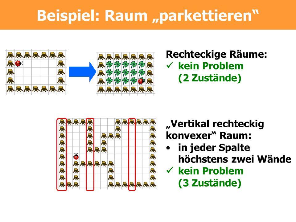 Rechteckige Räume: kein Problem (2 Zustände) Vertikal rechteckig konvexer Raum: in jeder Spalte höchstens zwei Wände kein Problem (3 Zustände) Beispiel: Raum parkettieren
