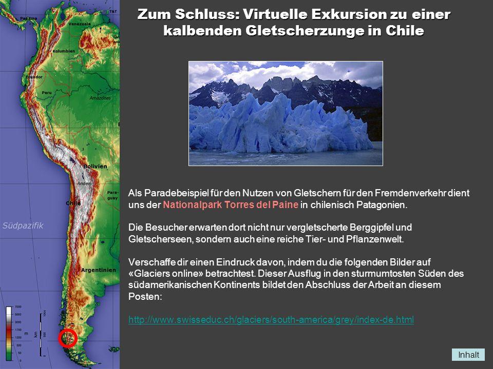 Inhalt Zum Schluss: Virtuelle Exkursion zu einer kalbenden Gletscherzunge in Chile Als Paradebeispiel für den Nutzen von Gletschern für den Fremdenver