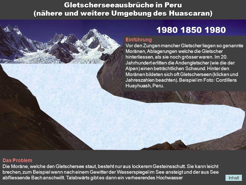 Inhalt 198018501980 Gletscherseeausbrüche in Peru (nähere und weitere Umgebung des Huascaran) Einführung Vor den Zungen mancher Gletscher liegen so ge