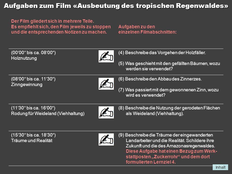 Inhalt Aufgaben zum Film «Ausbeutung des tropischen Regenwaldes» Der Film gliedert sich in mehrere Teile. Es empfiehlt sich, den Film jeweils zu stopp