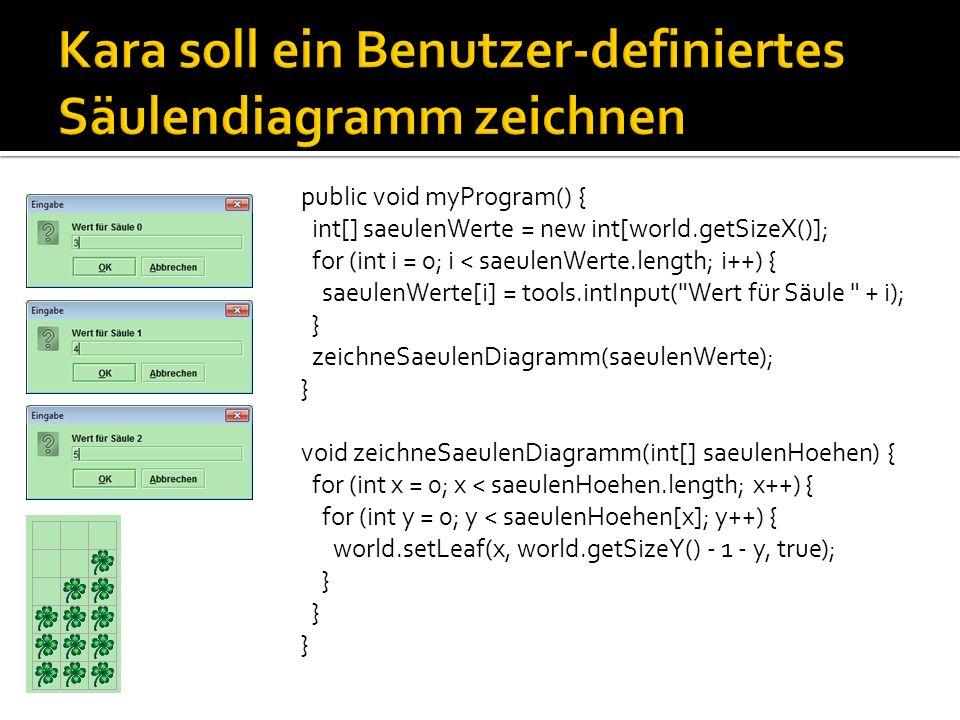 Wert in Feld speichern Grösse des Feldes auslesen Variable saeulenWerte deklarieren: Feld mit int Werten Variable saeulenWerte initialisieren: so viele Felder, wie Welt breit ist (world.getSizeX()) Variable saeulenWerte deklarieren: Feld mit int Werten Variable saeulenWerte initialisieren: so viele Felder, wie Welt breit ist (world.getSizeX()) public void myProgram() { int[] saeulenWerte = new int[world.getSizeX()]; // im Beispiel der vorigen Seite kann jetzt auf die Feld- // Elemente saeulenWerte[0], saeulenWerte[1], // saeulenWerte[2] zugegriffen werden for (int i = 0; i < saeulenWerte.length; i++) { saeulenWerte[i] = tools.intInput( Wert für Säule + i); } zeichneSaeulenDiagramm(saeulenWerte); }