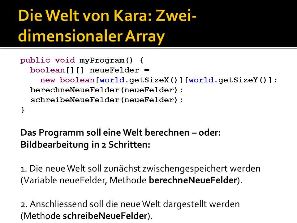 public void myProgram() { boolean[][] neueFelder = new boolean[world.getSizeX()][world.getSizeY()]; berechneNeueFelder(neueFelder); schreibeNeueFelder