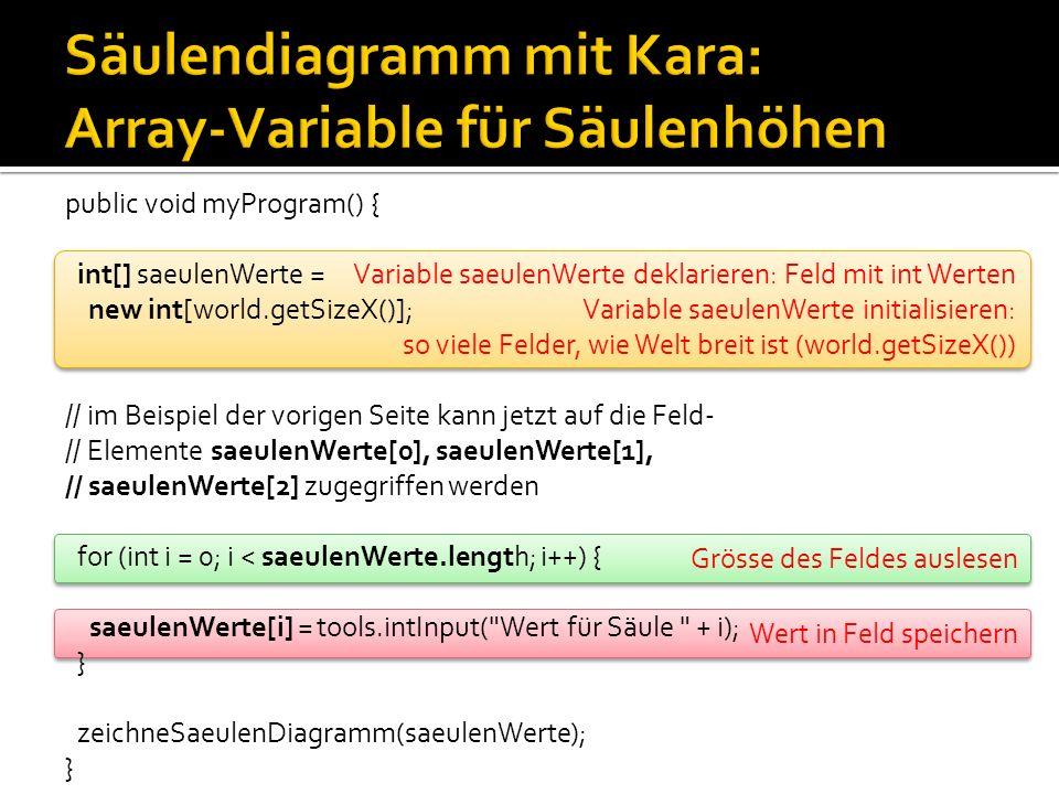 public void myProgram() { int[] saeulenWerte = new int[world.getSizeX()]; for (int i = 0; i < saeulenWerte.length; i++) { saeulenWerte[i] = tools.intInput( Wert für Säule + i); } zeichneSaeulenDiagramm(saeulenWerte); } void zeichneSaeulenDiagramm(int[] saeulenHoehen) { for (int x = 0; x < saeulenHoehen.length; x++) { for (int y = 0; y < saeulenHoehen[x]; y++) { world.setLeaf(x, world.getSizeY() - 1 - y, true); } int[] saeulenWerte Methode myProgram int[3] = { 3, 4, 5 } int x = 0 int[] saeulenHoehen Methode zeichneSaeulen Diagramm Globaler Speicher für das ganze Programm