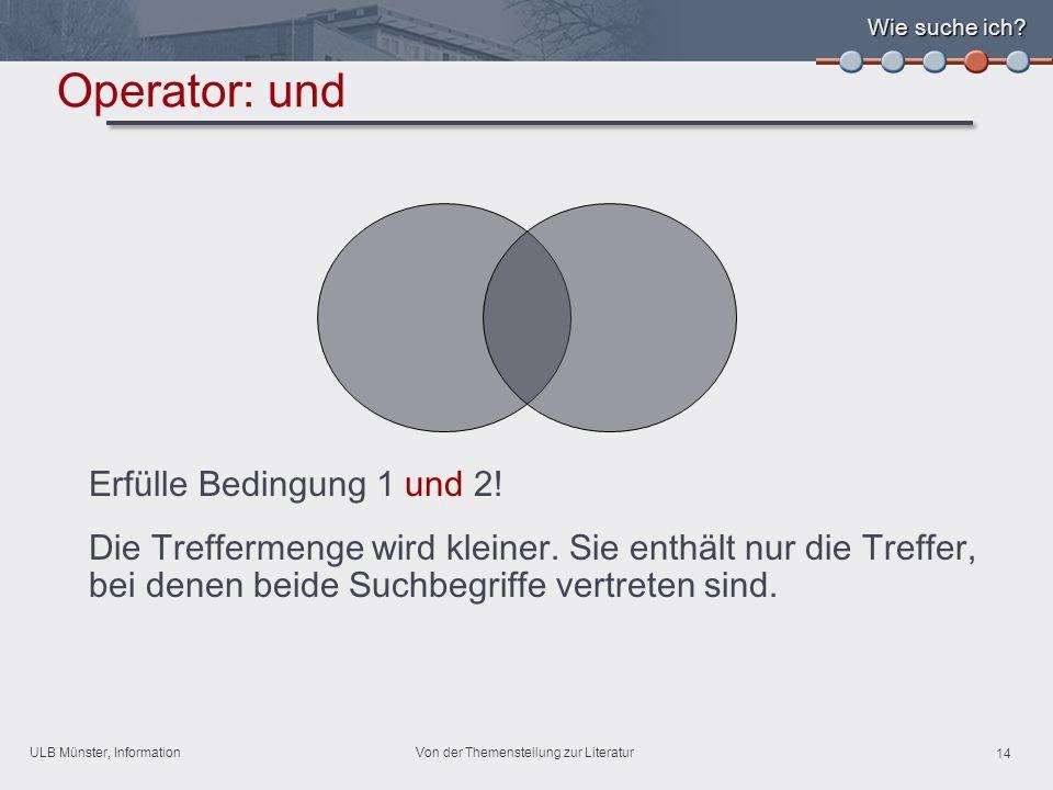 ULB Münster, Information 14 Von der Themenstellung zur Literatur Wie suche ich.