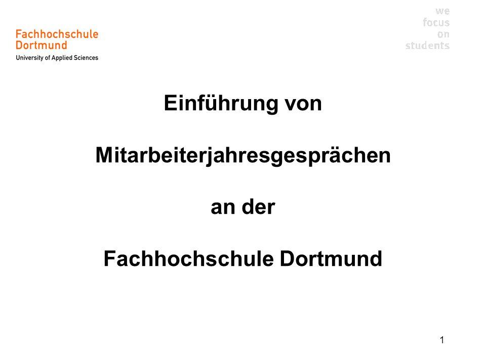 1 Einführung von Mitarbeiterjahresgesprächen an der Fachhochschule Dortmund