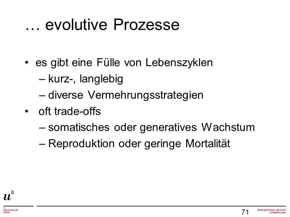 … evolutive Prozesse es gibt eine Fülle von Lebenszyklen –kurz-, langlebig –diverse Vermehrungsstrategien oft trade-offs –somatisches oder generatives