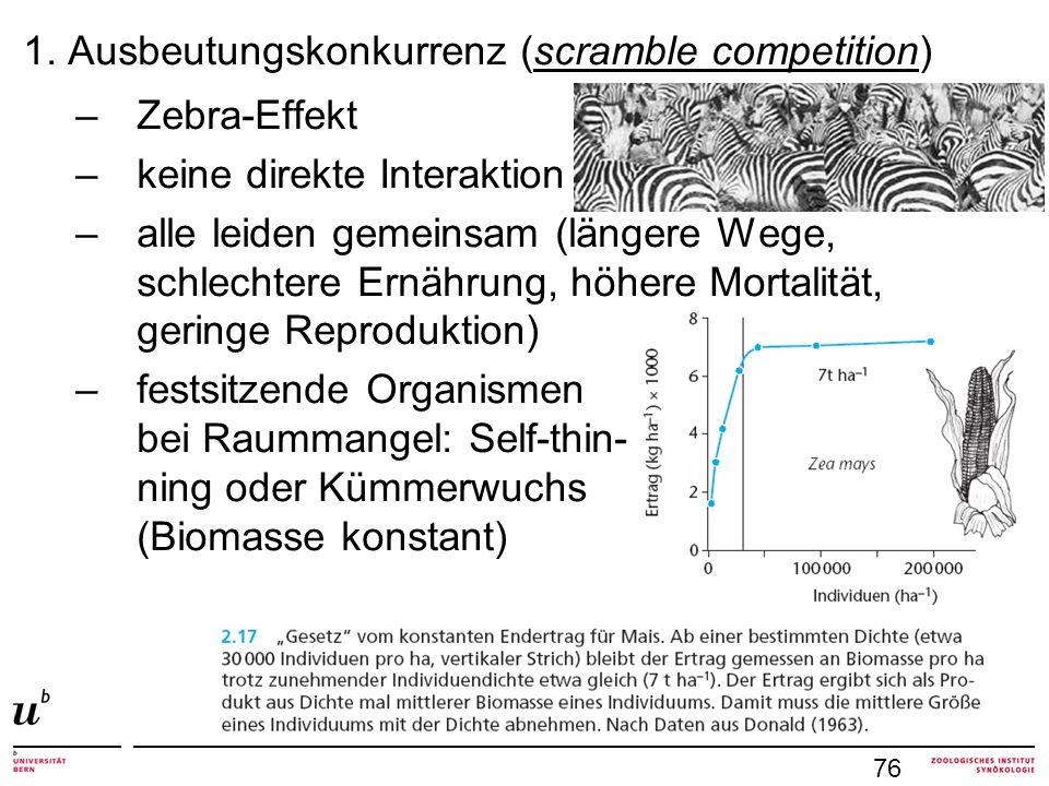 1. Ausbeutungskonkurrenz (scramble competition) –Zebra-Effekt –keine direkte Interaktion –alle leiden gemeinsam (längere Wege, schlechtere Ernährung,