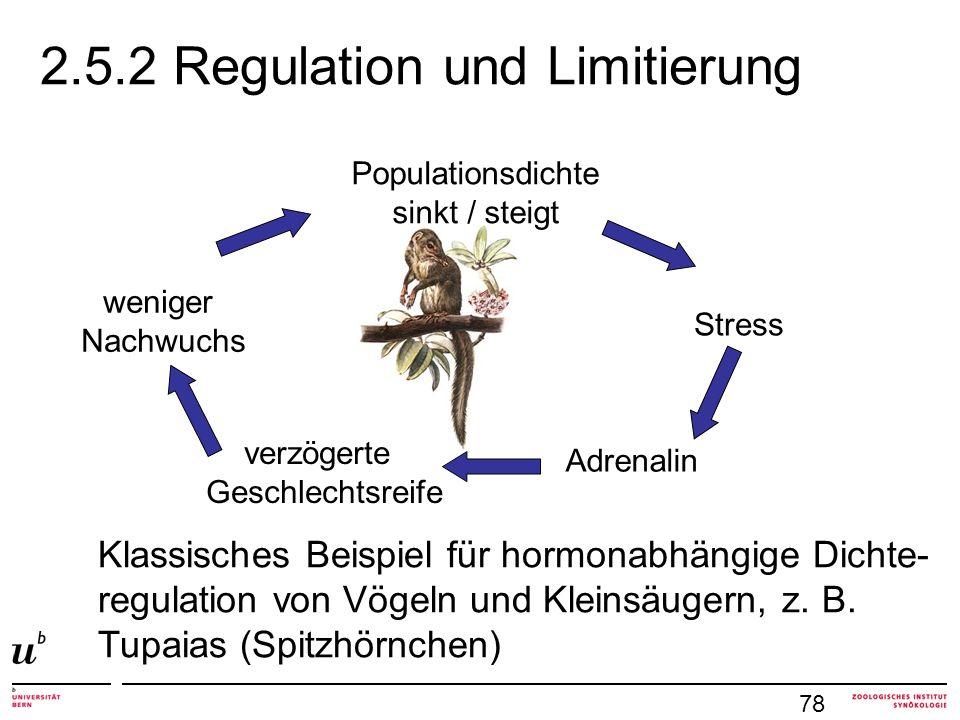 2.5.2 Regulation und Limitierung Populationsdichte sinkt / steigt Stress Adrenalin verzögerte Geschlechtsreife weniger Nachwuchs Klassisches Beispiel