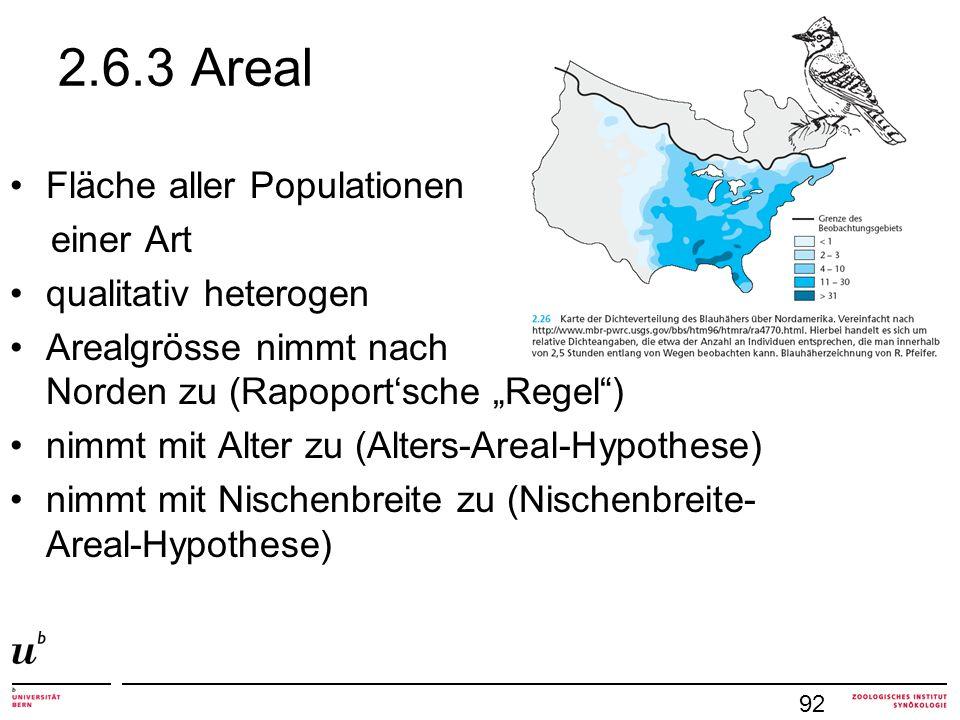 2.6.3 Areal Fläche aller Populationen einer Art qualitativ heterogen Arealgrösse nimmt nach Norden zu (Rapoportsche Regel) nimmt mit Alter zu (Alters-