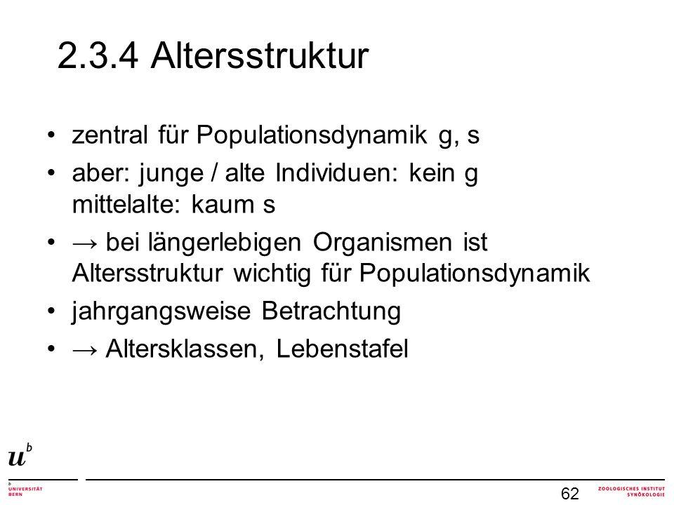 2.3.4 Altersstruktur zentral für Populationsdynamik g, s aber: junge / alte Individuen: kein g mittelalte: kaum s bei längerlebigen Organismen ist Alt