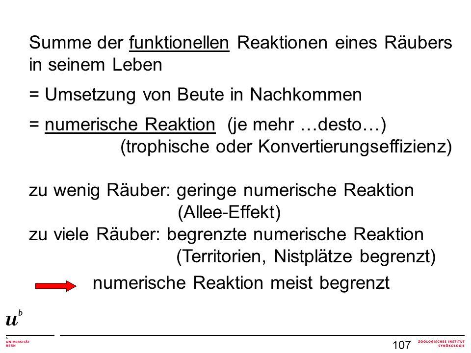 107 Summe der funktionellen Reaktionen eines Räubers in seinem Leben = Umsetzung von Beute in Nachkommen = numerische Reaktion (je mehr …desto…) (trop