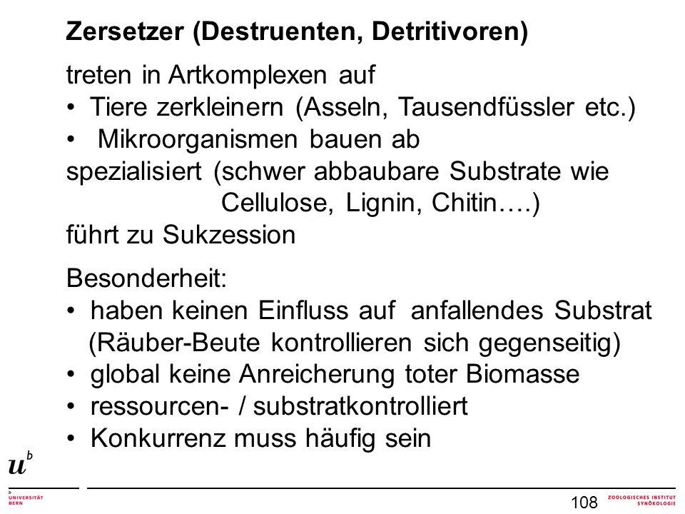 108 Zersetzer (Destruenten, Detritivoren) treten in Artkomplexen auf Tiere zerkleinern (Asseln, Tausendfüssler etc.) Mikroorganismen bauen ab spezialisiert (schwer abbaubare Substrate wie Cellulose, Lignin, Chitin….) führt zu Sukzession Besonderheit: haben keinen Einfluss auf anfallendes Substrat (Räuber-Beute kontrollieren sich gegenseitig) global keine Anreicherung toter Biomasse ressourcen- / substratkontrolliert Konkurrenz muss häufig sein